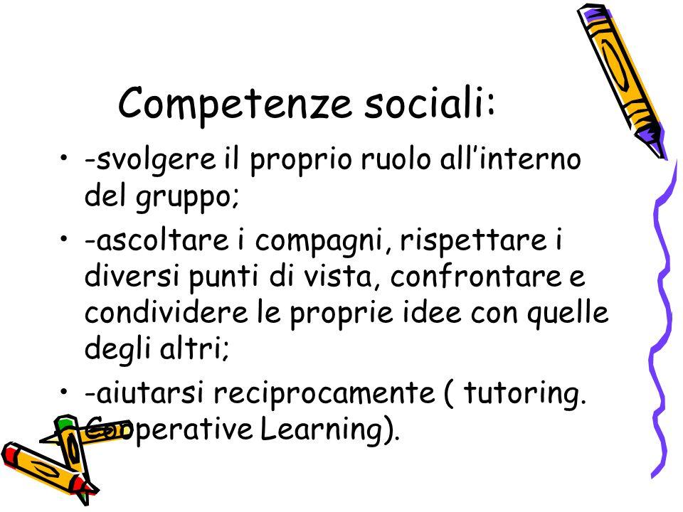 Competenze sociali: -svolgere il proprio ruolo all'interno del gruppo;