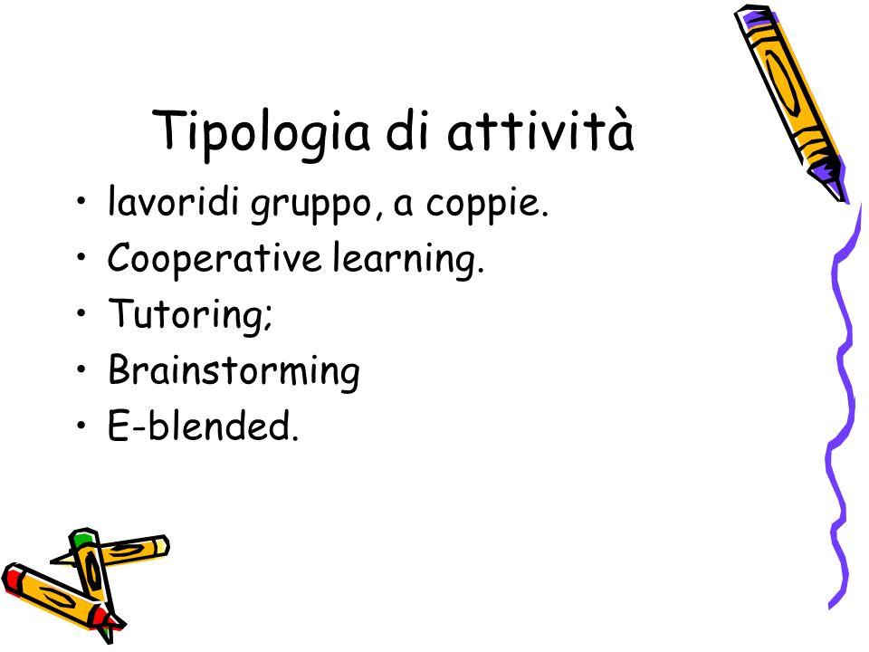 Tipologia di attività lavoridi gruppo, a coppie. Cooperative learning.