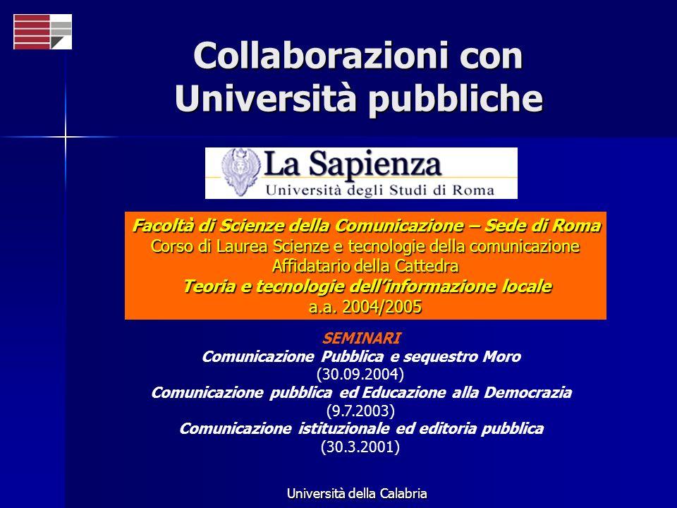 Collaborazioni con Università pubbliche