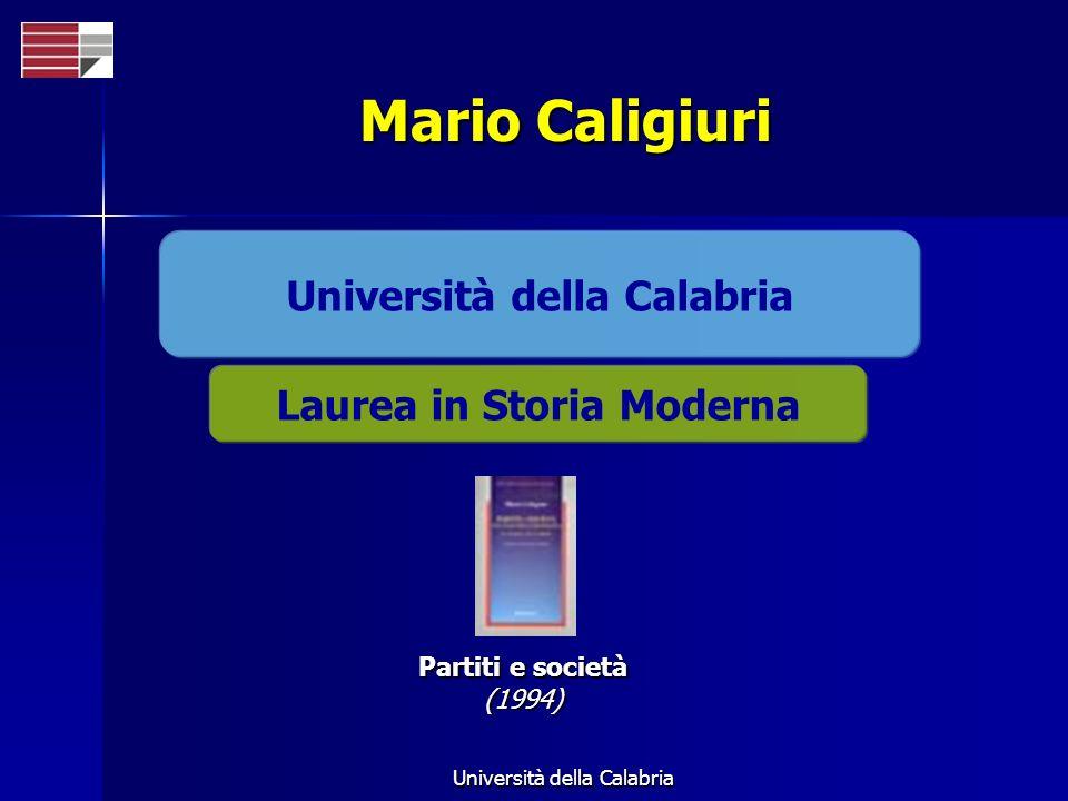Università della Calabria Laurea in Storia Moderna