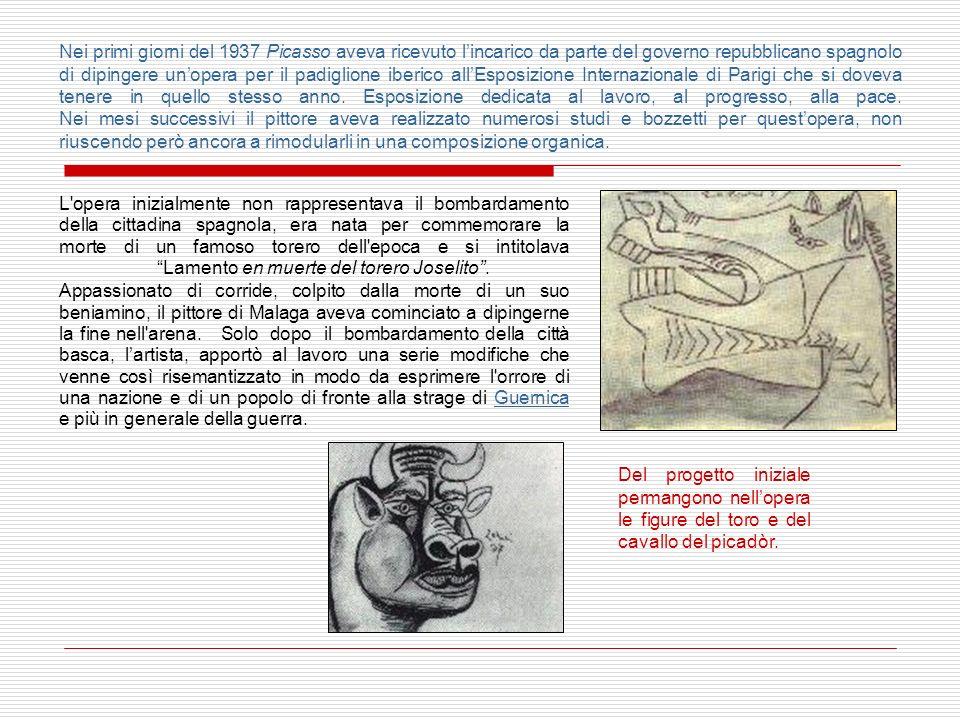 Nei primi giorni del 1937 Picasso aveva ricevuto l'incarico da parte del governo repubblicano spagnolo di dipingere un'opera per il padiglione iberico all'Esposizione Internazionale di Parigi che si doveva tenere in quello stesso anno. Esposizione dedicata al lavoro, al progresso, alla pace. Nei mesi successivi il pittore aveva realizzato numerosi studi e bozzetti per quest'opera, non riuscendo però ancora a rimodularli in una composizione organica.