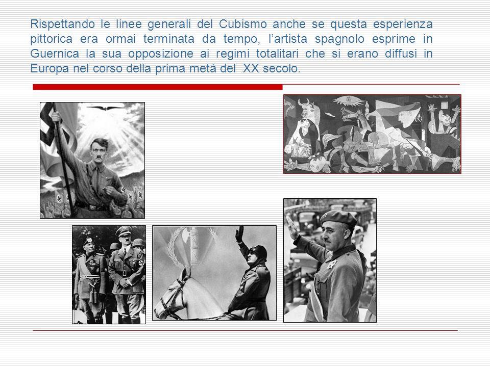 Rispettando le linee generali del Cubismo anche se questa esperienza pittorica era ormai terminata da tempo, l'artista spagnolo esprime in Guernica la sua opposizione ai regimi totalitari che si erano diffusi in Europa nel corso della prima metà del XX secolo.