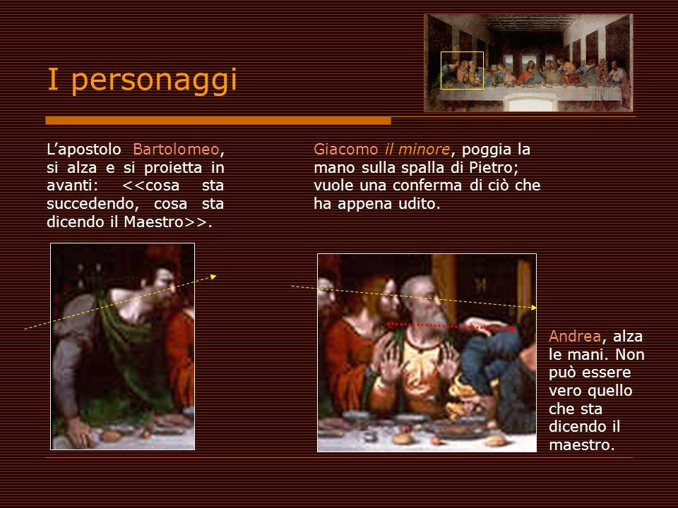 I personaggi L'apostolo Bartolomeo, si alza e si proietta in avanti: <<cosa sta succedendo, cosa sta dicendo il Maestro>>.
