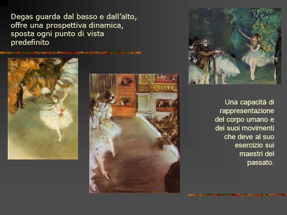 Degas guarda dal basso e dall'alto, offre una prospettiva dinamica, sposta ogni punto di vista predefinito