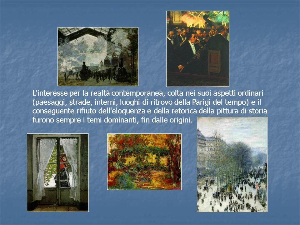 L interesse per la realtà contemporanea, colta nei suoi aspetti ordinari (paesaggi, strade, interni, luoghi di ritrovo della Parigi del tempo) e il conseguente rifiuto dell eloquenza e della retorica della pittura di storia