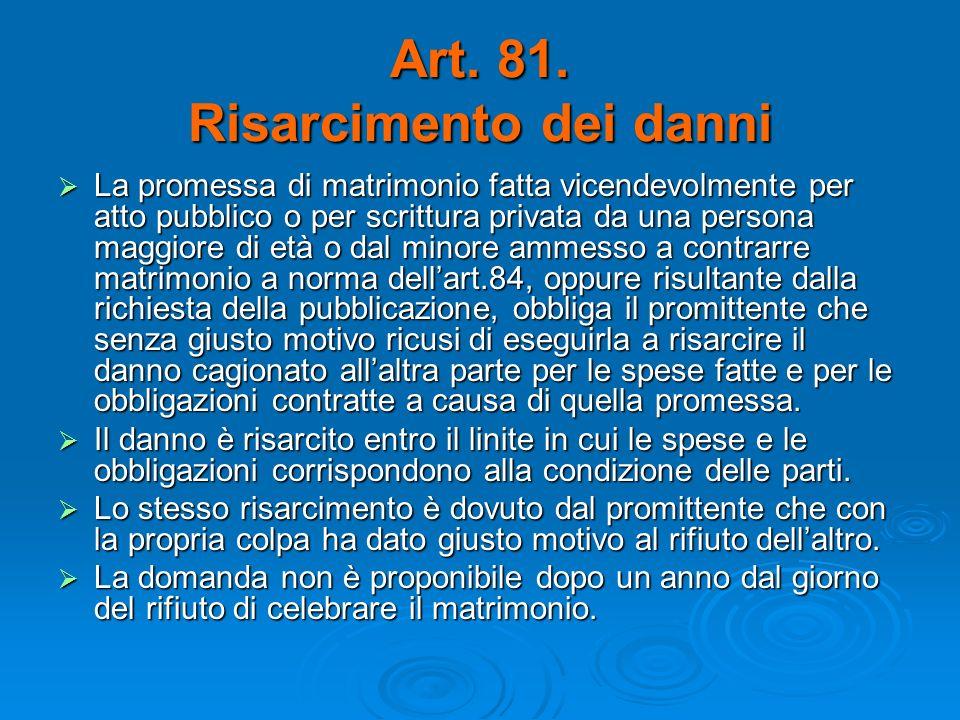 Art. 81. Risarcimento dei danni