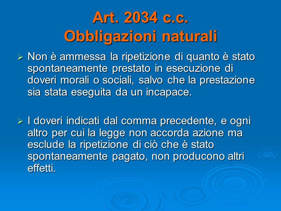 Art. 2034 c.c. Obbligazioni naturali