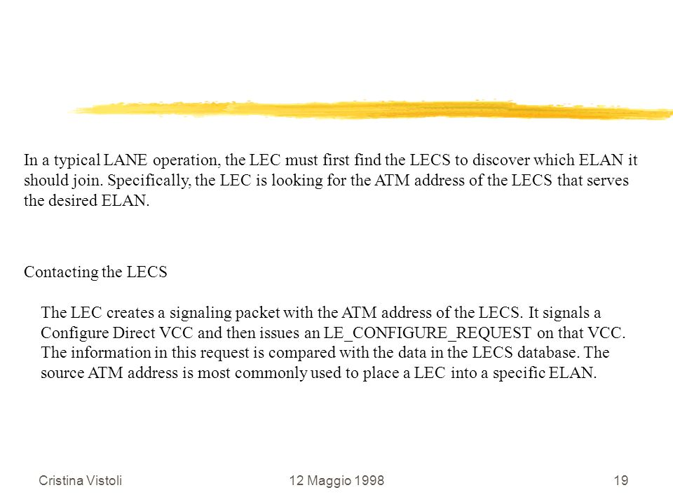 In a typical LANE operation, the LEC must first find the LECS to discover which ELAN it
