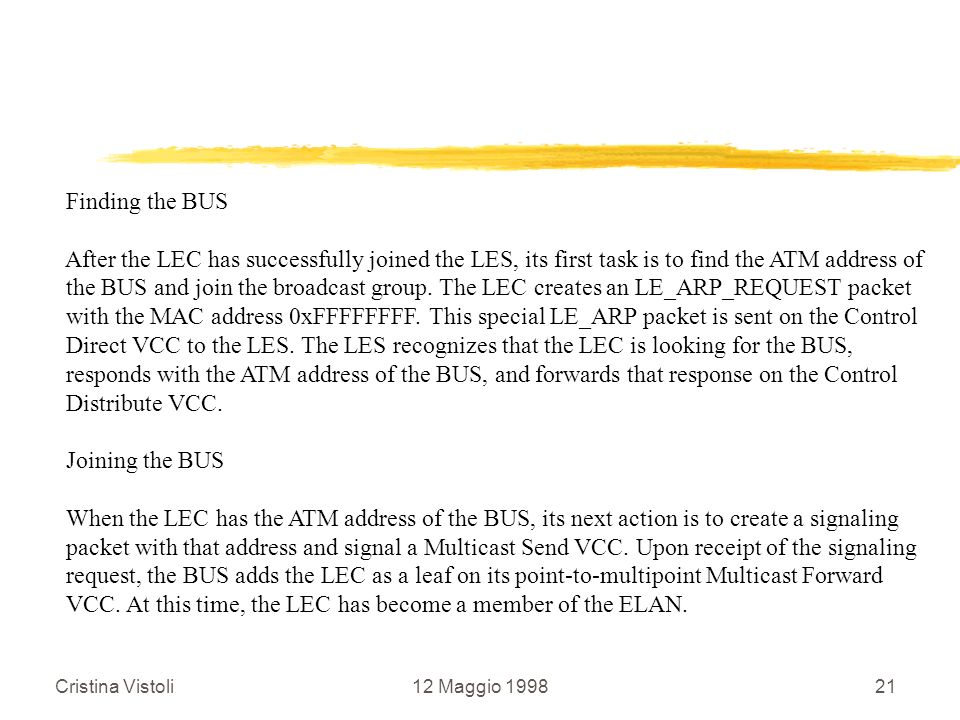 VCC. At this time, the LEC has become a member of the ELAN.