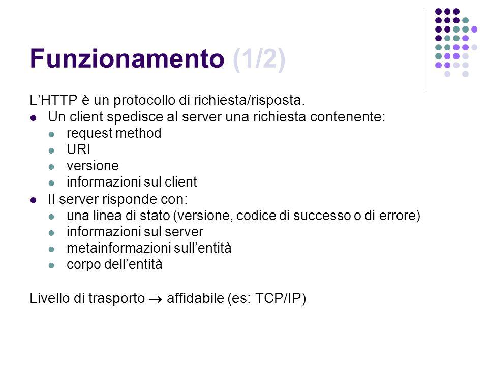 Funzionamento (1/2) L'HTTP è un protocollo di richiesta/risposta.