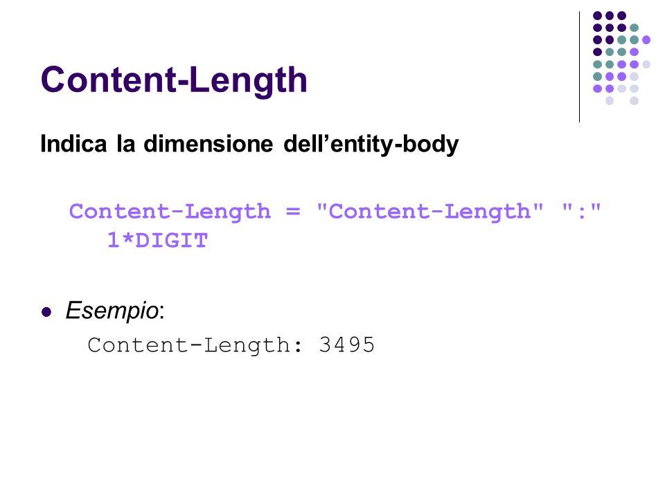 Content-Length Indica la dimensione dell'entity-body