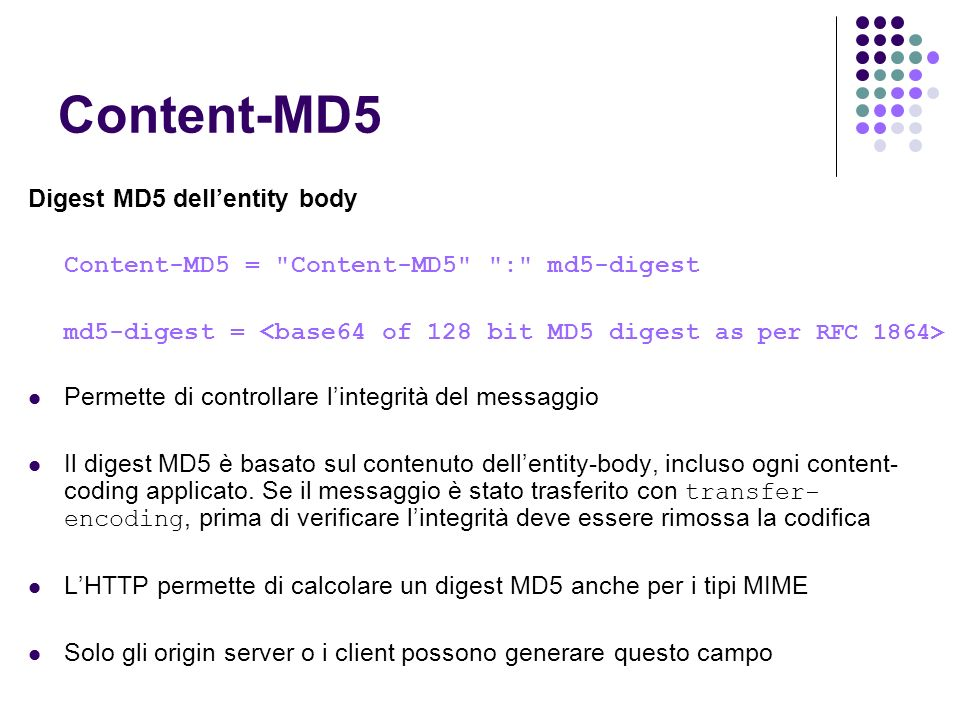 Content-MD5 Digest MD5 dell'entity body