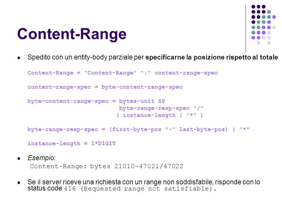 Content-Range Spedito con un entity-body parziale per specificarne la posizione rispetto al totale.