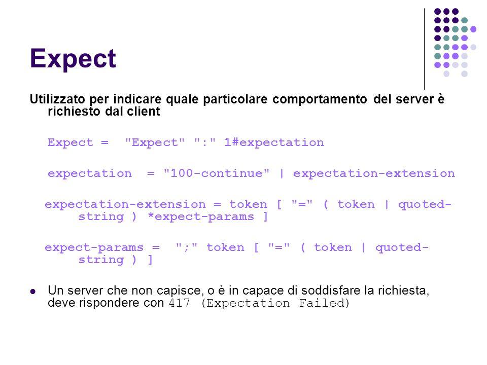 Expect Utilizzato per indicare quale particolare comportamento del server è richiesto dal client. Expect = Expect : 1#expectation.