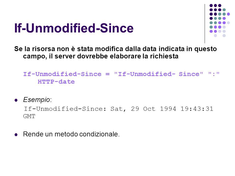 If-Unmodified-Since Se la risorsa non è stata modifica dalla data indicata in questo campo, il server dovrebbe elaborare la richiesta.