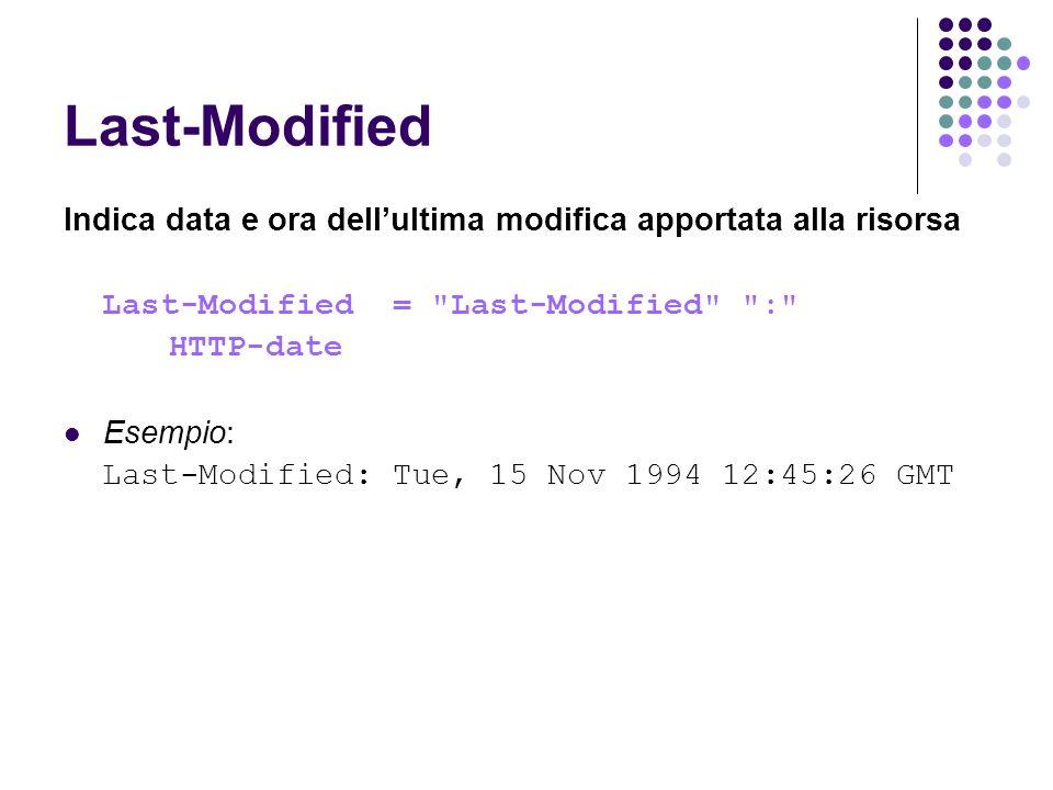 Last-Modified Indica data e ora dell'ultima modifica apportata alla risorsa. Last-Modified = Last-Modified :