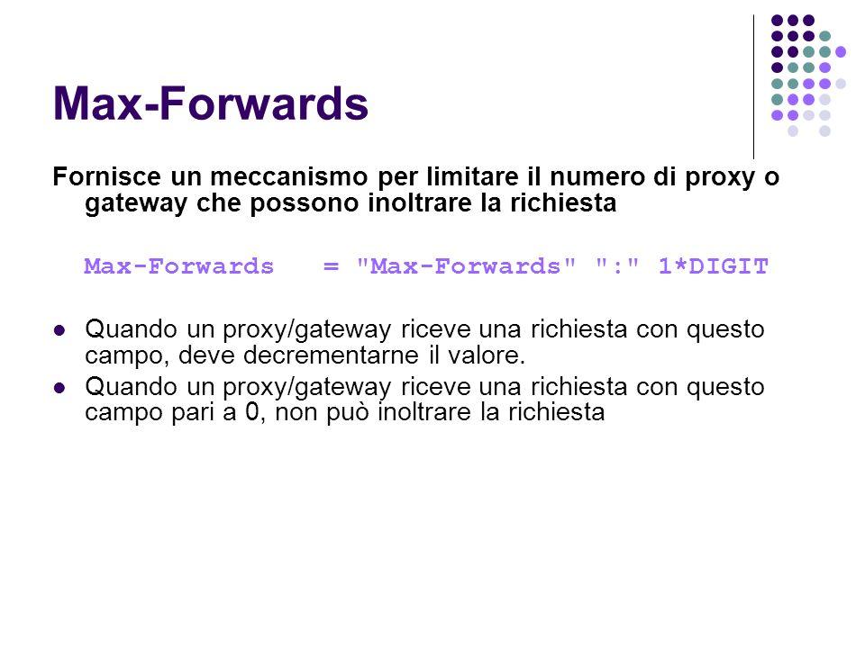 Max-Forwards Fornisce un meccanismo per limitare il numero di proxy o gateway che possono inoltrare la richiesta.