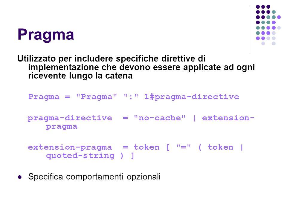 Pragma Utilizzato per includere specifiche direttive di implementazione che devono essere applicate ad ogni ricevente lungo la catena.