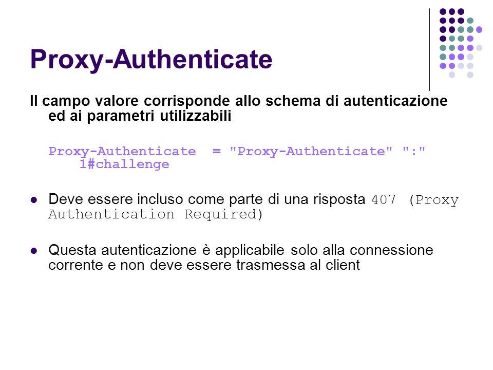 Proxy-Authenticate Il campo valore corrisponde allo schema di autenticazione ed ai parametri utilizzabili.