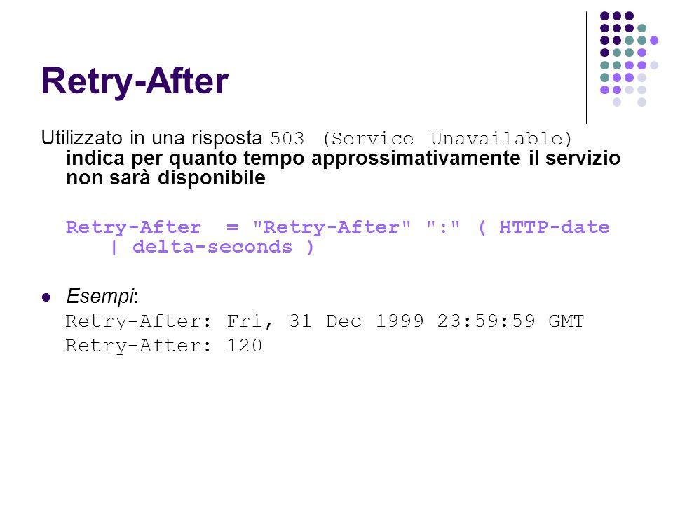 Retry-After Utilizzato in una risposta 503 (Service Unavailable) indica per quanto tempo approssimativamente il servizio non sarà disponibile.