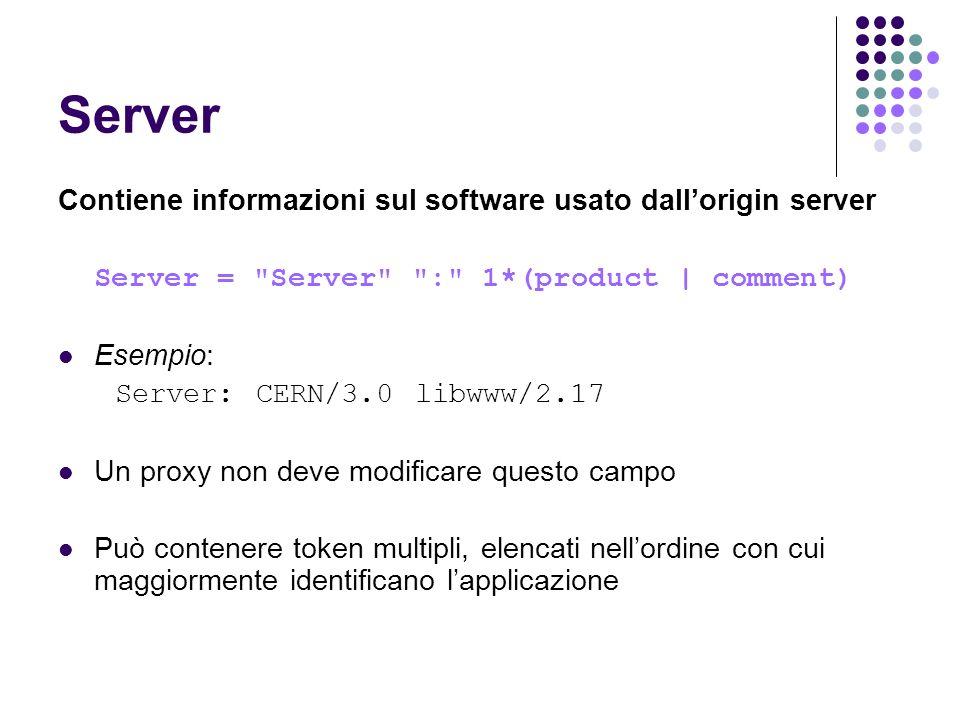 Server Contiene informazioni sul software usato dall'origin server