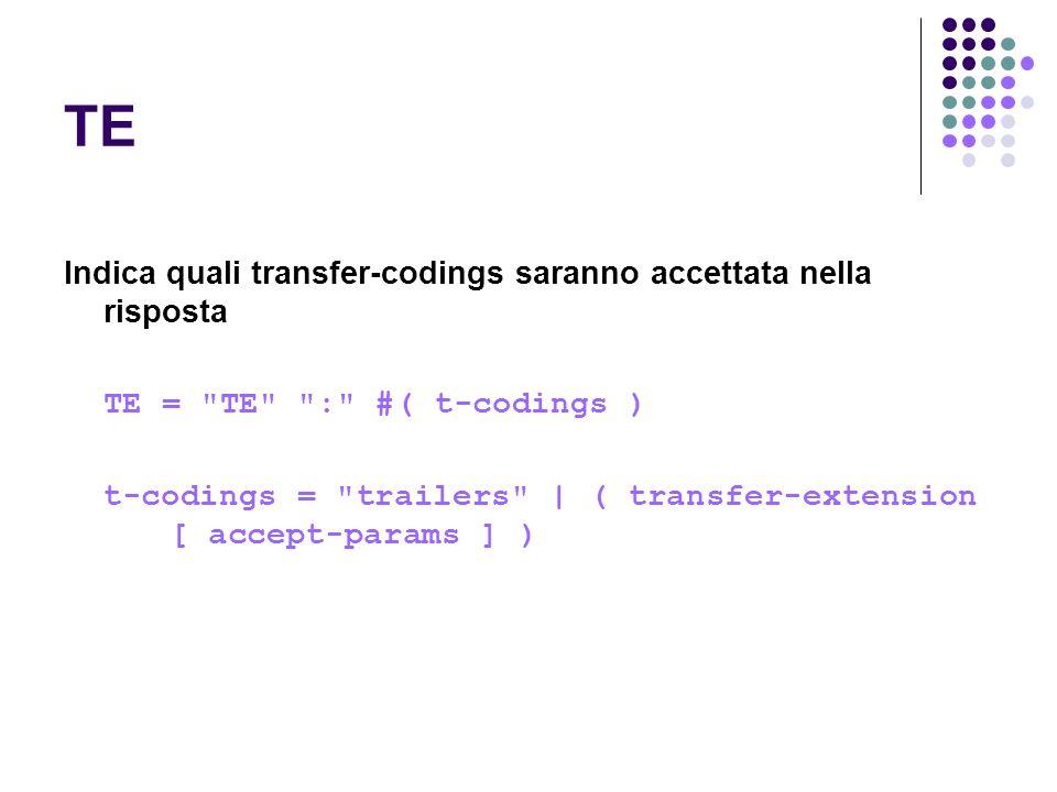 TE Indica quali transfer-codings saranno accettata nella risposta
