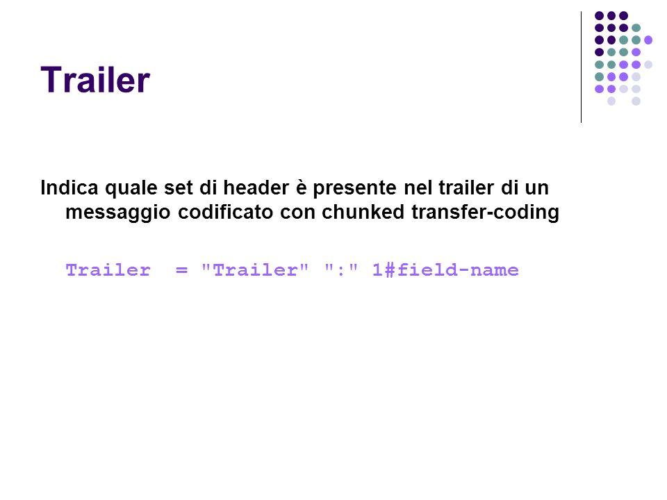Trailer Indica quale set di header è presente nel trailer di un messaggio codificato con chunked transfer-coding.