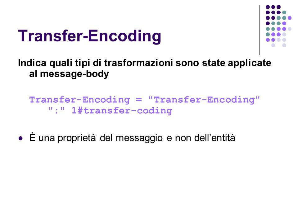 Transfer-Encoding Indica quali tipi di trasformazioni sono state applicate al message-body.