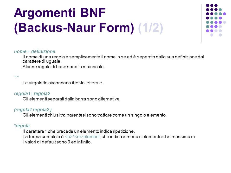 Argomenti BNF (Backus-Naur Form) (1/2)