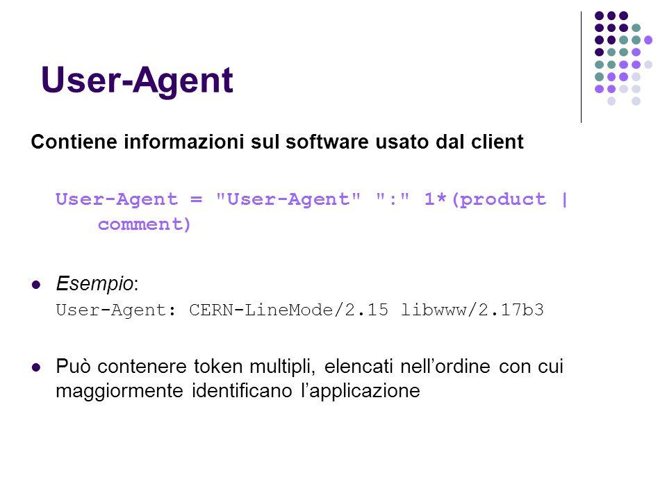 User-Agent Contiene informazioni sul software usato dal client