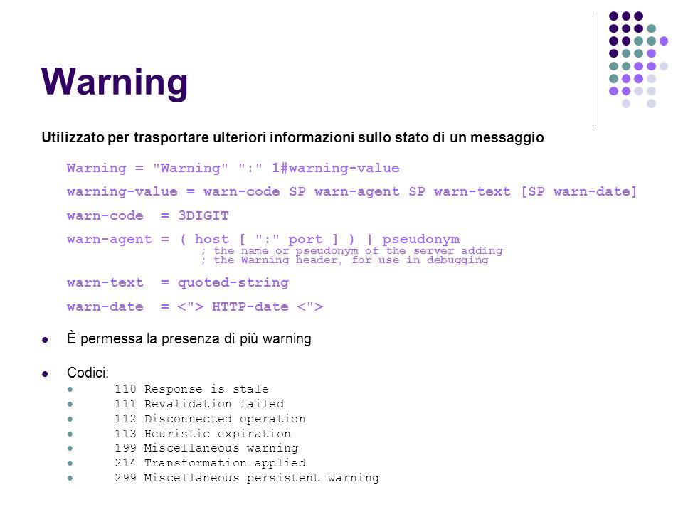 Warning Utilizzato per trasportare ulteriori informazioni sullo stato di un messaggio. Warning = Warning : 1#warning-value.