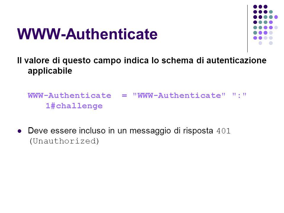 WWW-Authenticate Il valore di questo campo indica lo schema di autenticazione applicabile. WWW-Authenticate = WWW-Authenticate : 1#challenge.