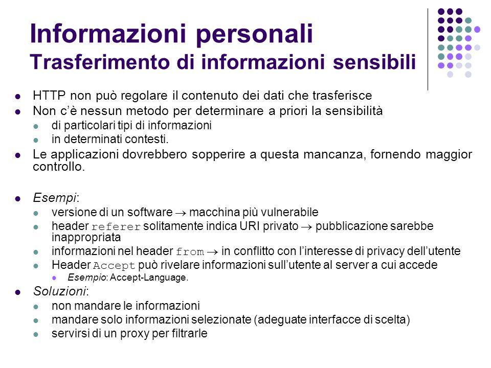 Informazioni personali Trasferimento di informazioni sensibili