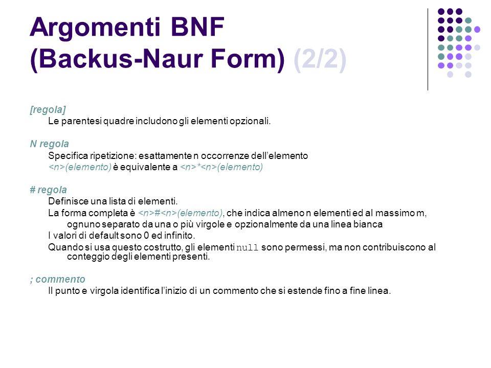 Argomenti BNF (Backus-Naur Form) (2/2)