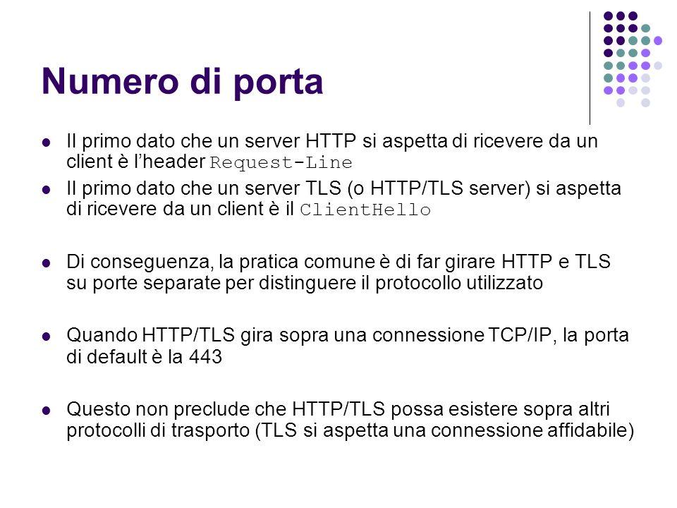 Numero di porta Il primo dato che un server HTTP si aspetta di ricevere da un client è l'header Request-Line.