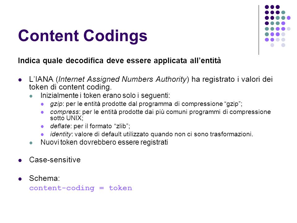 Content Codings Indica quale decodifica deve essere applicata all'entità.