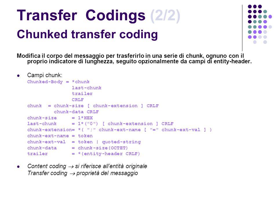 Transfer Codings (2/2) Chunked transfer coding