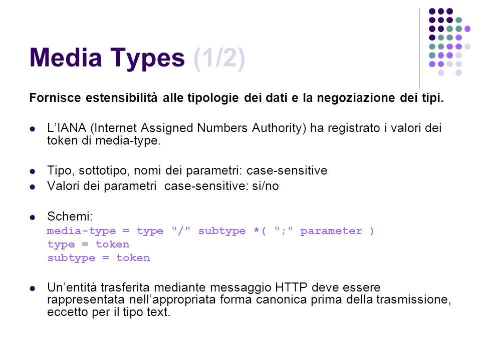 Media Types (1/2) Fornisce estensibilità alle tipologie dei dati e la negoziazione dei tipi.