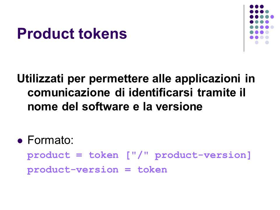 Product tokens Utilizzati per permettere alle applicazioni in comunicazione di identificarsi tramite il nome del software e la versione.