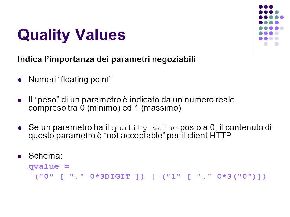Quality Values Indica l'importanza dei parametri negoziabili
