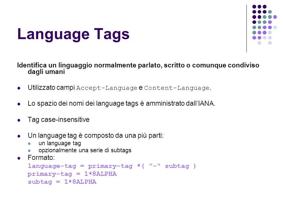 Language Tags Identifica un linguaggio normalmente parlato, scritto o comunque condiviso dagli umani.