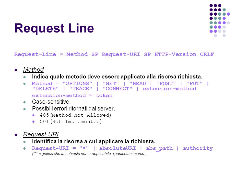 Request Line Method Request-URI