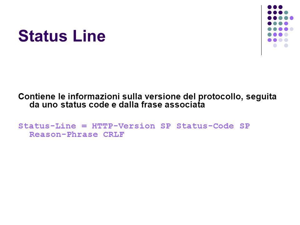 Status Line Contiene le informazioni sulla versione del protocollo, seguita da uno status code e dalla frase associata.