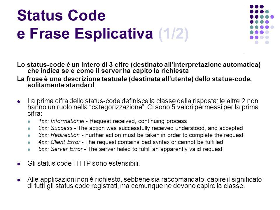 Status Code e Frase Esplicativa (1/2)