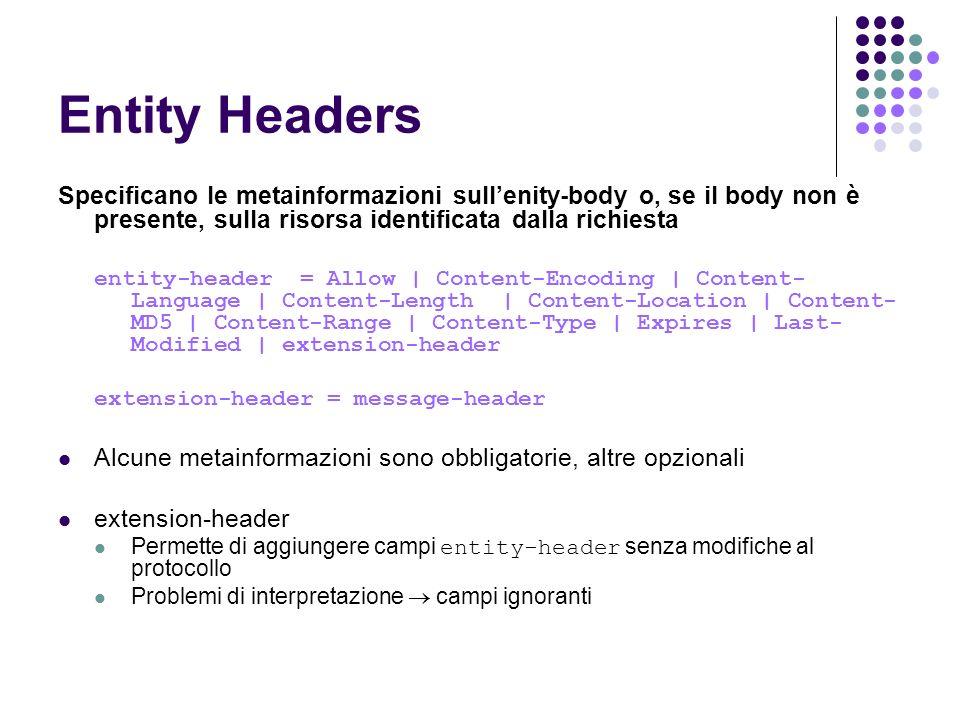 Entity Headers Specificano le metainformazioni sull'enity-body o, se il body non è presente, sulla risorsa identificata dalla richiesta.