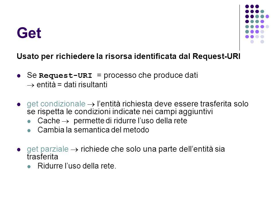 Get Usato per richiedere la risorsa identificata dal Request-URI