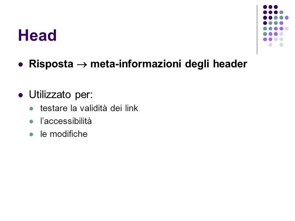 Head Risposta  meta-informazioni degli header Utilizzato per: