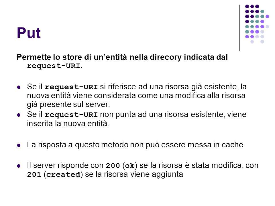 Put Permette lo store di un'entità nella direcory indicata dal request-URI.