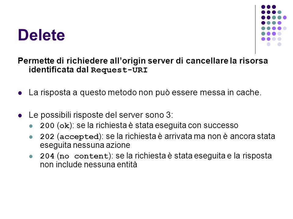 Delete Permette di richiedere all'origin server di cancellare la risorsa identificata dal Request-URI.