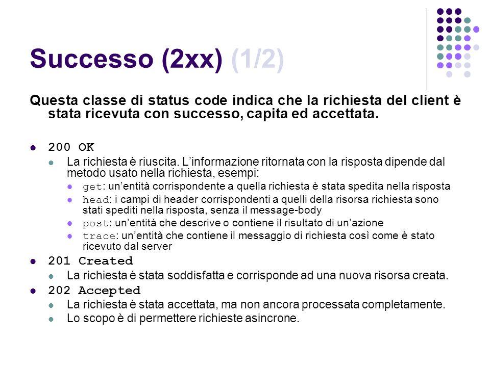 Successo (2xx) (1/2) Questa classe di status code indica che la richiesta del client è stata ricevuta con successo, capita ed accettata.
